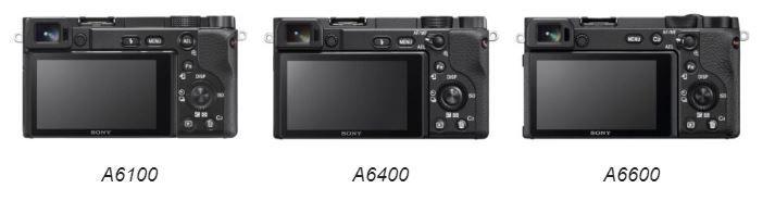 Sony A6100, Sony A6400 e Sony A6600 viste da dietro
