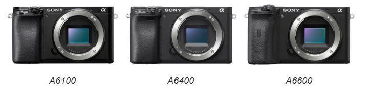 Sony A6100, Sony A6400 e Sony A6600 viste di fronte