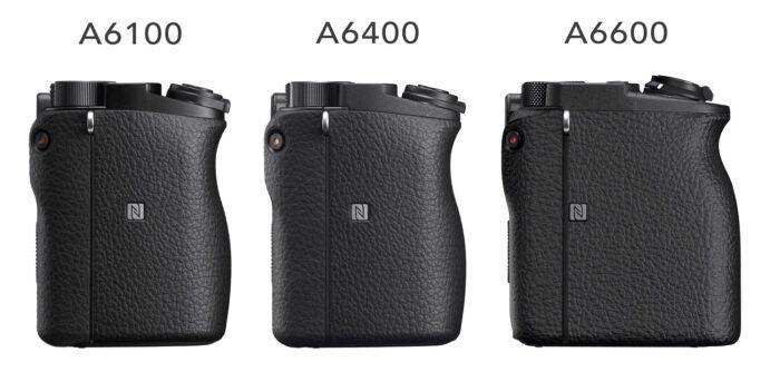 Sony A6100, A6400 e A6000 viste di lato