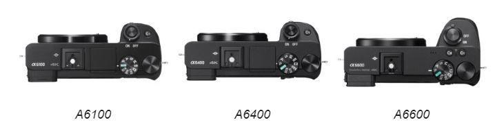 Sony A6100, Sony A6400 e Sony A6600 viste da sopra