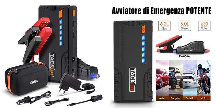 Powerbank avviatore di emergenza per batteria auto scarica