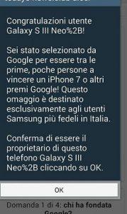 truffa vincere smartphone google